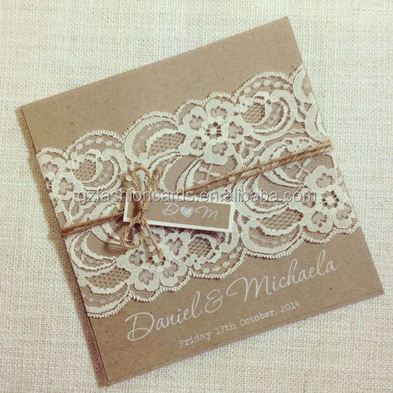 Wholesale Handmade Lace Decoration Rustic Wedding Invitations