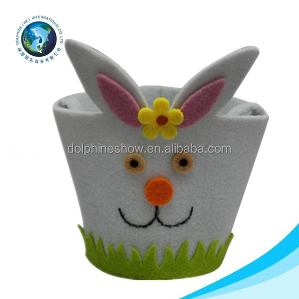 Easter cute toy for kids egg hunting plush decorative easter bucket