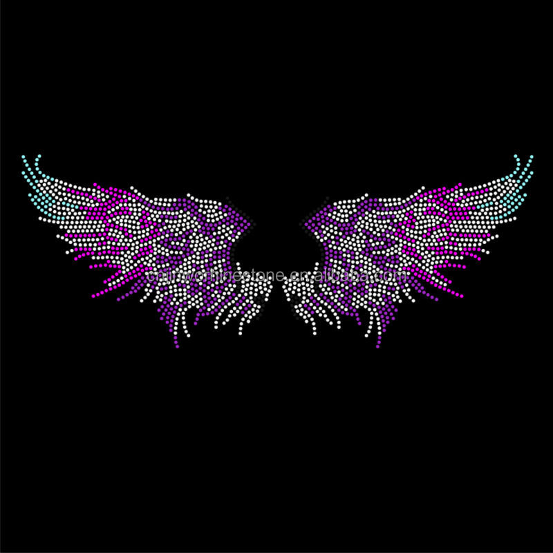 Wholesale wings logo design iron on rhinestone transfer designs FY 53 (22)