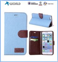 Jeans Cloth Design Wallet style PU Leather Case for iphone 6 / 6S Plus