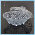 fancy round clear cheap antique glass fruit bowl with glass lid