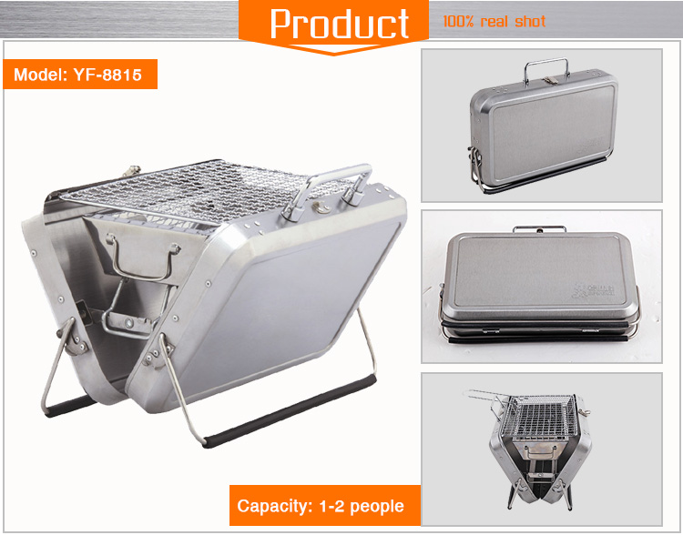 Mini stainless steel charcoal BBQ grill