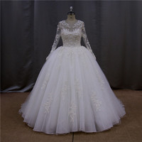 Lace neck handmade long sleeve no train wedding dresses