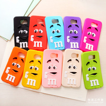 3D Cute M chocolate candy cartoon Silicone Phone Case Back Cover For Samsung Galaxy S3 S4 S5 MINI S6 S7 Edge Plus S8 S8 Plus