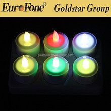 6 pack color changing flameless Led rechargeable candle light with plastic cup