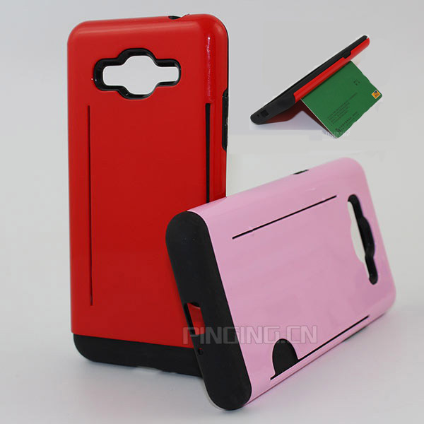Double layer pc + tpu 2 in 1 card slot holder back cover case for samsung galaxy win i8552