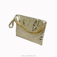 Cheap Price Hot Sale Royal Gold Two Pockets Wallet With Handle Strap for Women