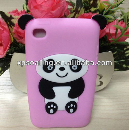 for ipod touch 4 hot sell panda silicone case back cover