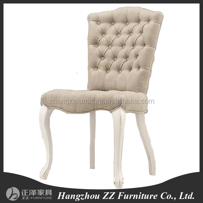 Wood Design Louis Square Back Button Tufted Armrest Dining Chair