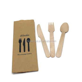 wooden disposable cutlery set knife fork spoon