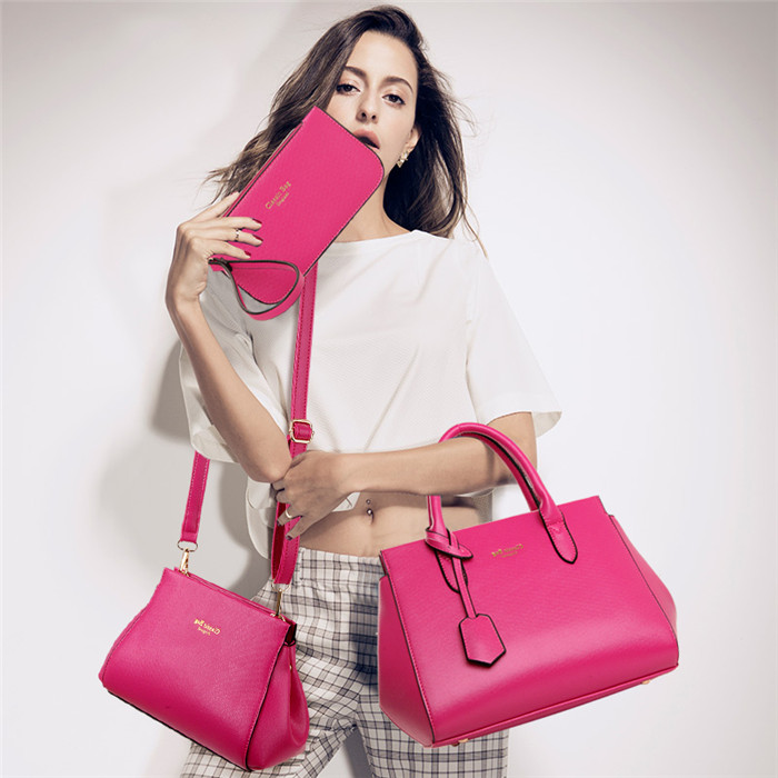 Fashion 3pcs lady tote shoulder bag pu leather women set bag