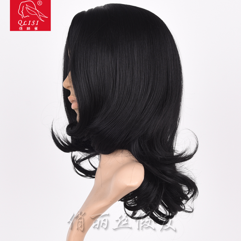 "24"" Long Black Color Cheap Synthetic African American Wigs Perruque"
