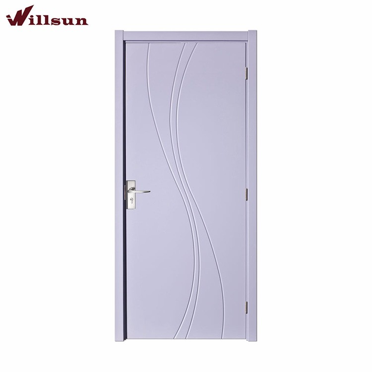Modern simple groove design mdf flush wood door for houses