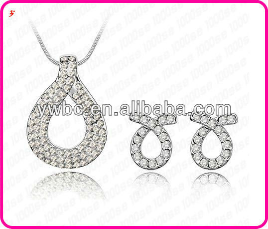 Fashion design white stone artificial jewellery pakistan(T100370)