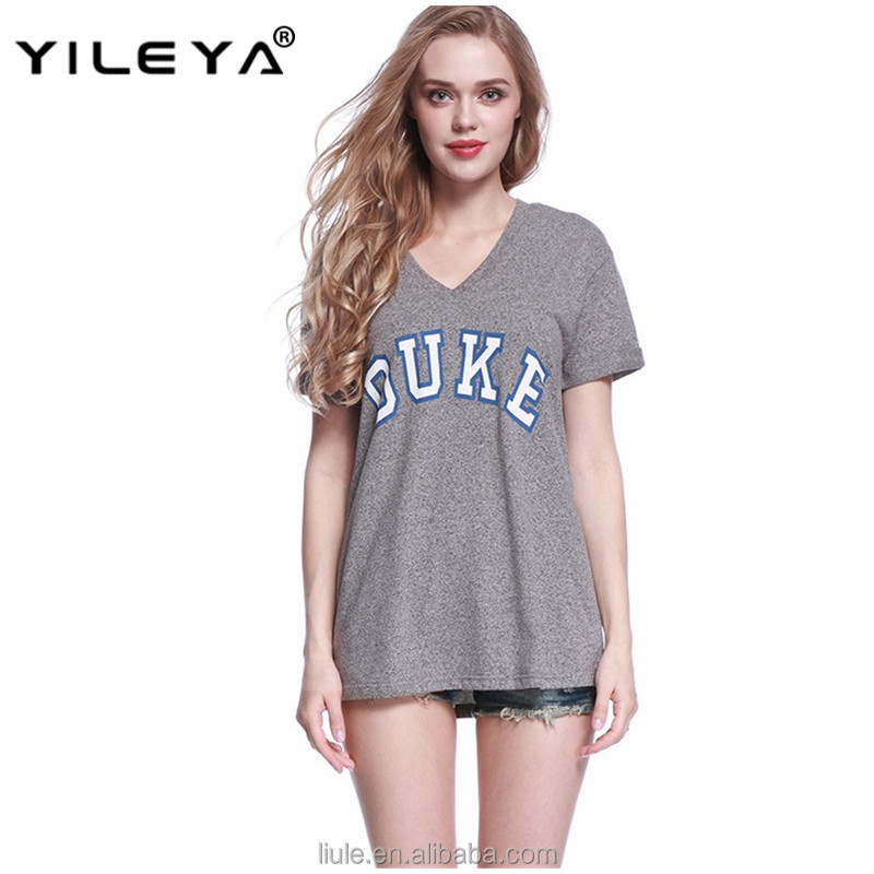 Hot selling women short sleeve t-shirt gray V Neck letters print loose T Shirt