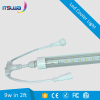 ETL DLC IP65 T8 LED Integrated 10W 20W 2ft 4ft V shape LED Cooler Door Tube Light for Walk in Cooler, Supermarket Display