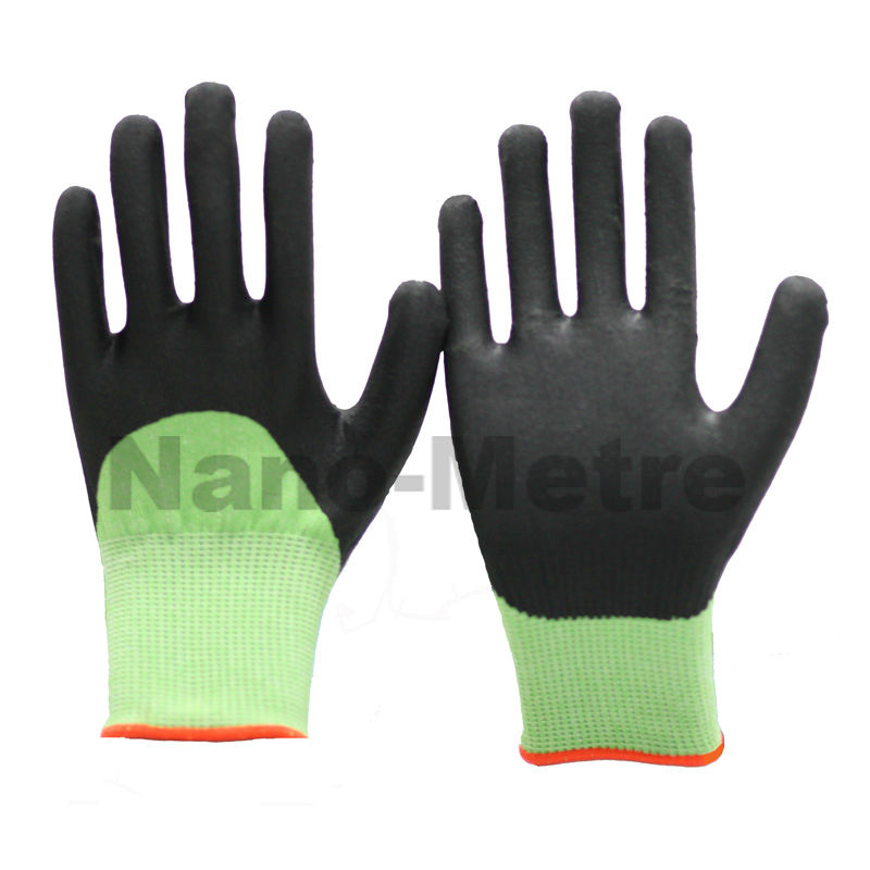 MSAFETY green nylon and spandex 3/4 coated nitrile industrial glove