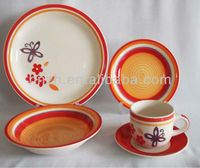 Subtle Butterfly Picture Design 20pcs Ceramic Handpainted lead free stoneware dinnerware for Party and hotel use