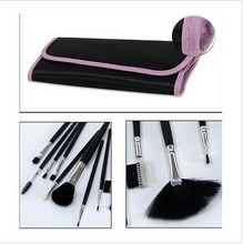 Professional 12PCS high-quality black handle makeup brush set with pink edge of black bag