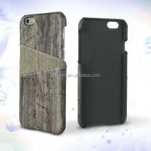 Fashion Protective Leather Material Back Cover, Wooden Style Leather Phone Case