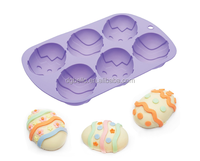 Easter Egg Silicone Cake Pan 6 Mould Mold Baking Bakeware Chocolate Fondant Candy Sugarcraft Jelly Soap Tray
