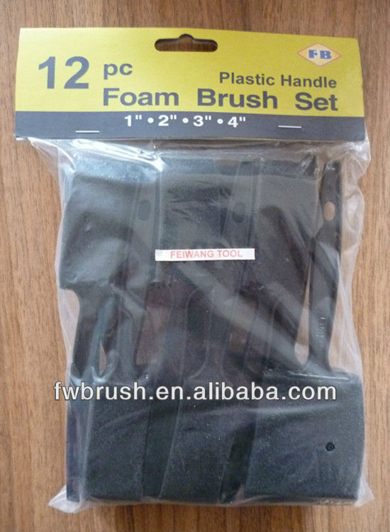 12PC foam/sponge paint brush plastic handle