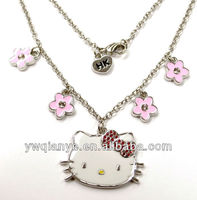 gift for girls kids hello kitty metal charm necklace
