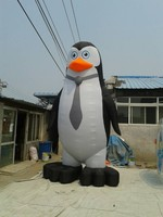 Plastic balck tall inflatable cartoon characters in penguin