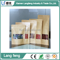 High quality moisture proof kraft paper packaging food bag, stand up kraft paper food bag with window