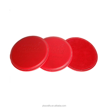 Custom Red promotional leather coaster with bracket