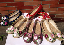 Different colors embroidered jute-soled shoes