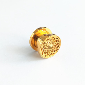 Gold surgical steel ear tunnel expander piercing screw fit hollow flesh tunnel