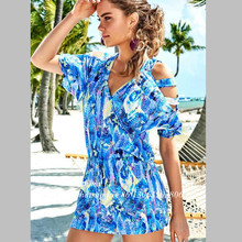 2017 High Quality Blue Floral Off Shoulder Women Sexy Beach Dress Ladies Soft Cotton Boho Summer Printed Dress
