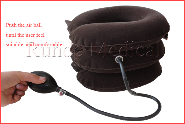 FDA CE full flannel inflatable air neck traction /Soft Air-pressure Neck Traction cervical collar/cervical traction device