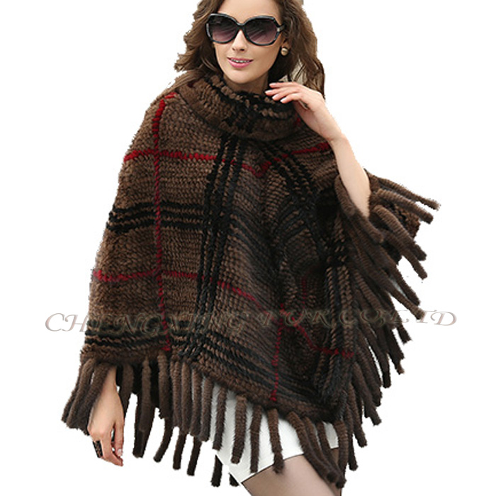 CX-B-M-62F Genuine Women Fashion Knitted Mink Fur Shawl