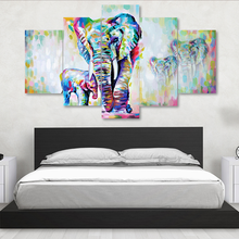 5 Pieces Canvas Painting African Modern Art Elephants Living Room Wall Decor Pictures Handmade Landscape Oil Painting