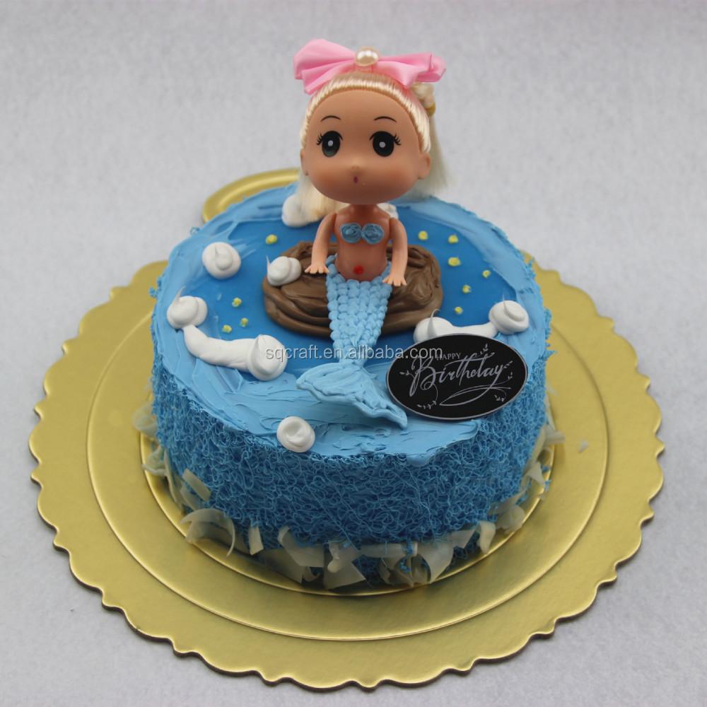New Style Fake Round Birthday Cake Model With Mermaid Cream For
