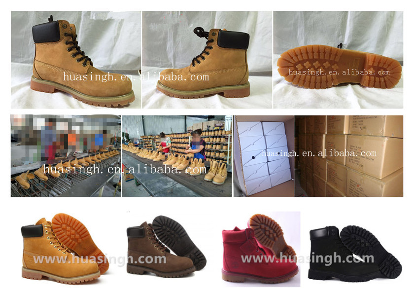 honey/black/brown/pink waterproof leather 6 inch work boots fashionable