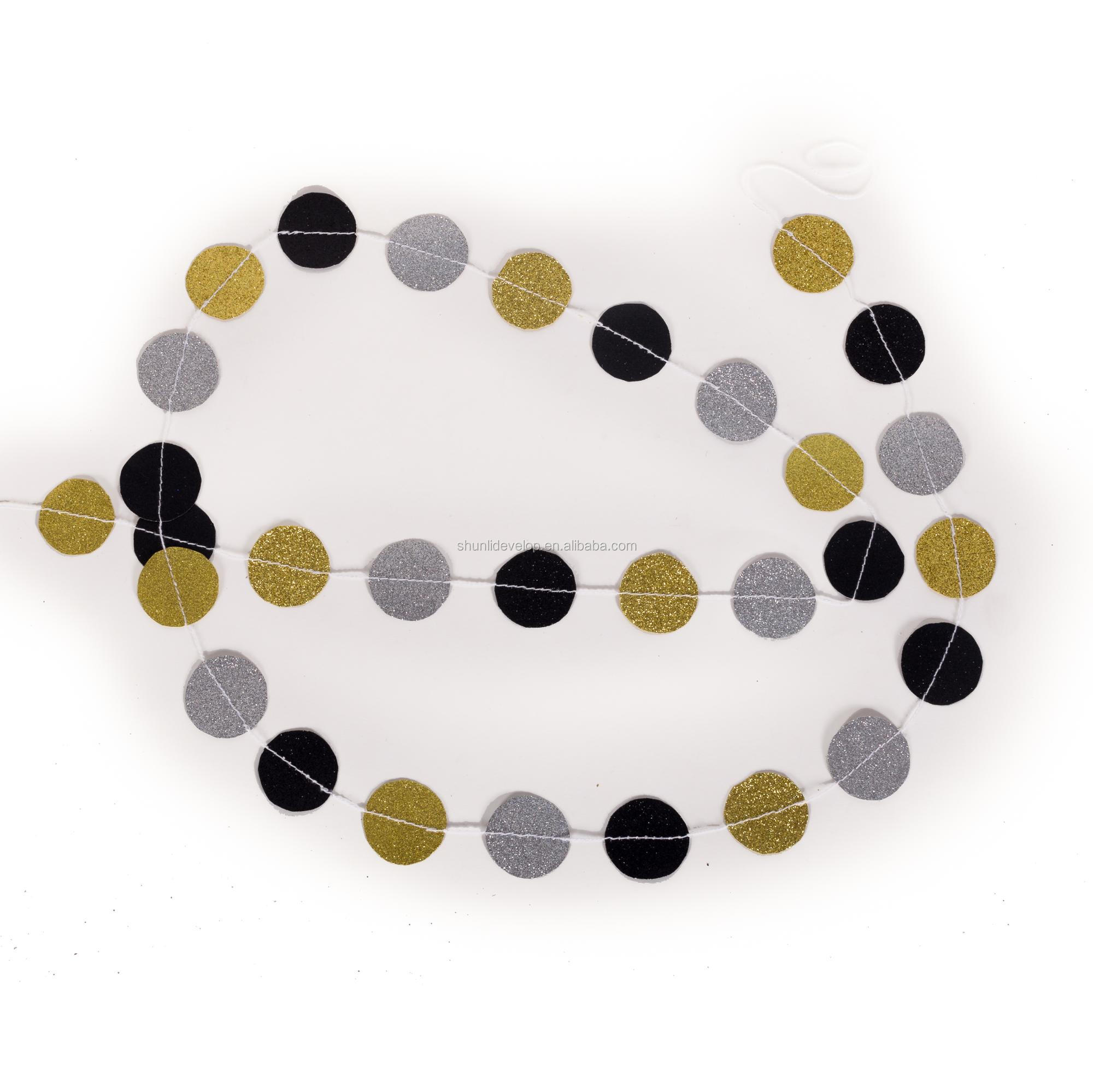 Black White Glitter Gold Mixed Color Paper Circle Garland for Christmas Party Decoration