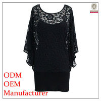 hot sexy batwing fashion night dress for fat woman