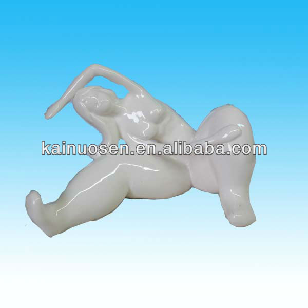 handmade yoga fat lady white ceramic abstract sculpture