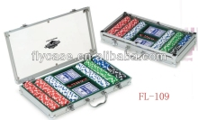 Aluminum durable handcrafted hot sale in occident poker chip set with roulette
