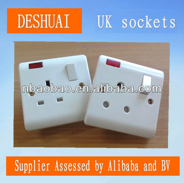 UK 13A and 15A switched socket with neon ,light switch