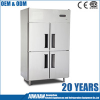 4 Doors Double Temperature Commercial Industrial Wholesale Stainless Steel Restaurant Fridge Kitchen Refrigerator 1.0LG
