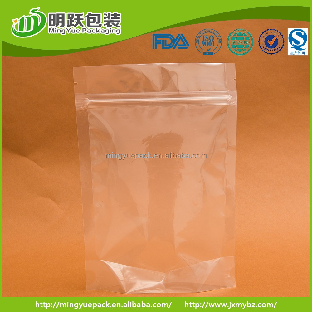 unprinted clear plastic zipper pouch stand up pouch with zip lock