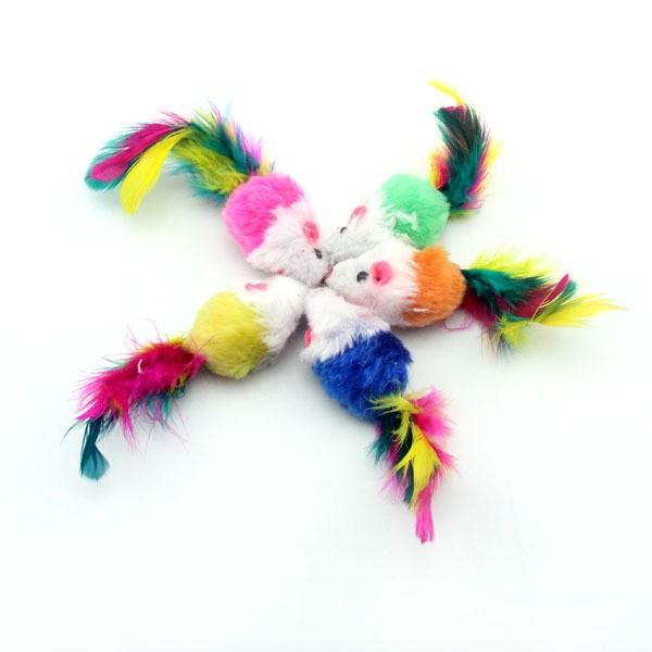 Lovely colorful plush cat toy mouse