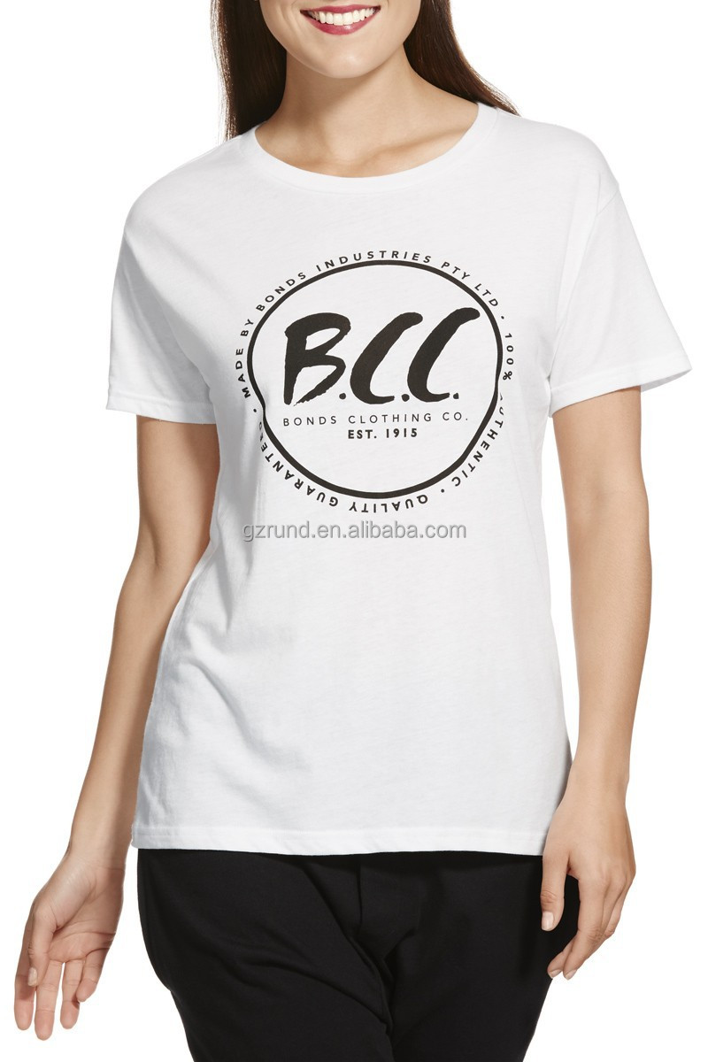 Plain white women t shirts wholesale custom logo rubber for Cheap company t shirts