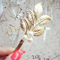 factory direct sell latest design gold leaf hairpin women leaf pearl hair pin decorative hair pins