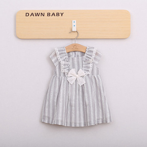 baby girls gray gingham double layered cotton lace dress  latest gowns designs with bow
