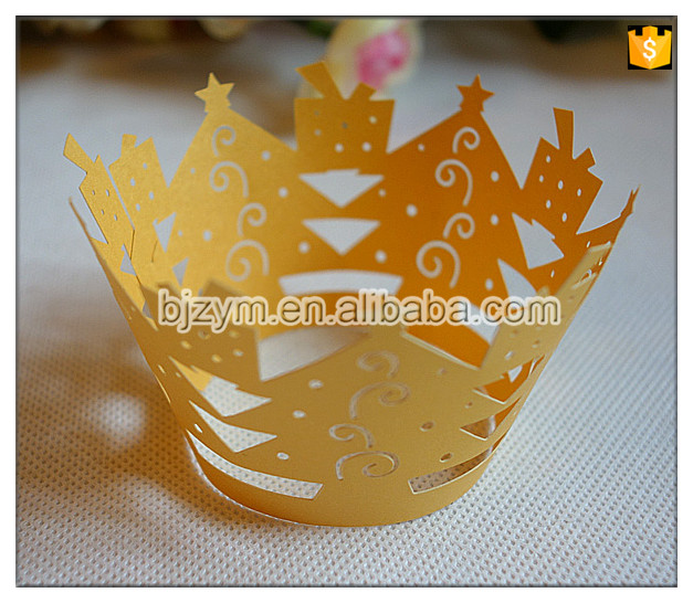 Yellow paper Christmas tree Cups Cupcake Liners Wrappers Cake Wraps for 2016 Xmas party event favor supplies